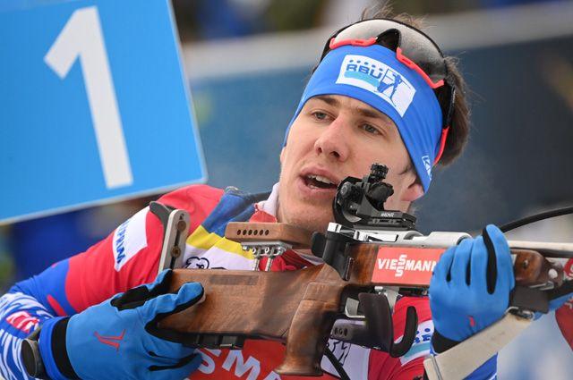 Эдуард Латыпов (Россия) на тренировке перед началом соревнований на чемпионате мира по биатлону 2021 в словенской Поклюке.