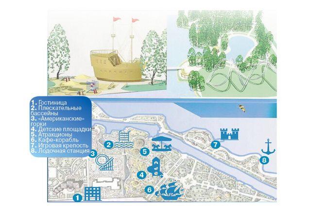 Пример благоустройства парка у озера в Белых Берегах. Проект представлен на сайте vsevmeste32.ru.