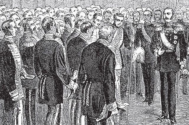 Император Александр II объявляет московскому дворянству о намерении освободить крестьян от крепостной зависимости. Гравюра второй половины XIX в.