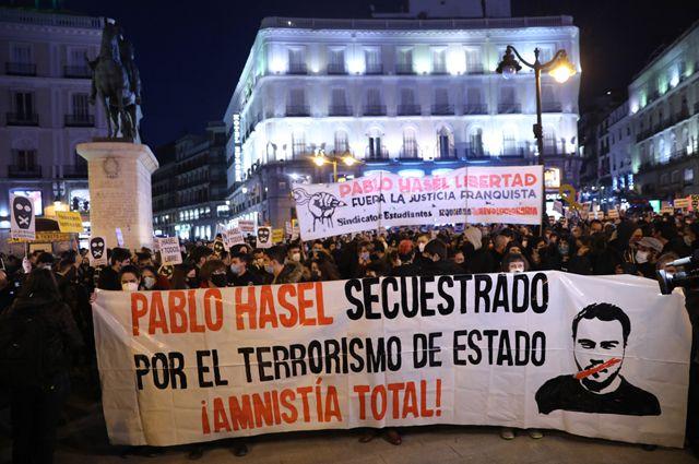 Акции протеста в Испании в поддержку рэпера Пабло Аселя