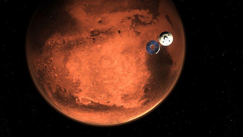 Изображение, иллюстрирующее ровер Perseverance перед вхождением в атмосферу Марса.