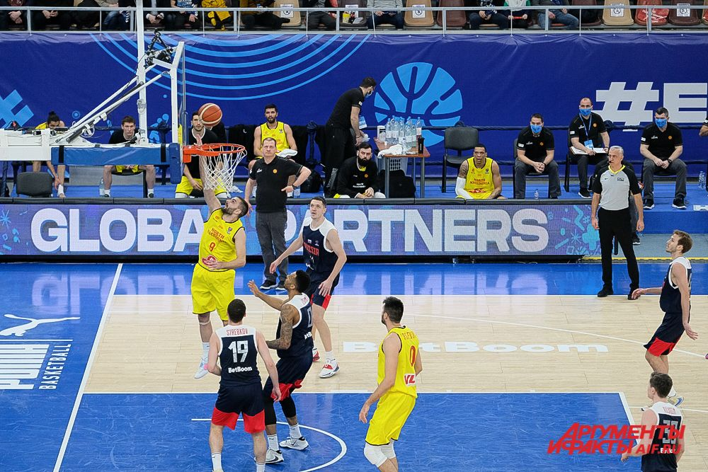 Баскетбольный матч мужской сборной России и Северной Македонии в Перми.
