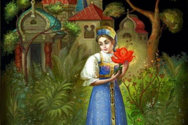 Федоскинская лаковая миниатюра «Аленький цветочек».