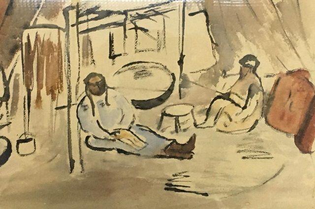 Н.Удальцова. Лист из алтайской серии. Бум, гуашь, акв. 1930 г.
