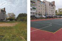 Так выглядела спортивная площадка около дома № 3б по ул. Рождественский проезд (г. Краснокамск). А такой она стала после ремонта (фото справа).