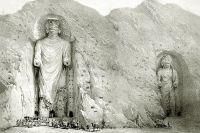 Рисунок Бамианских Будд Александром Бёрнсом, 1832 г.