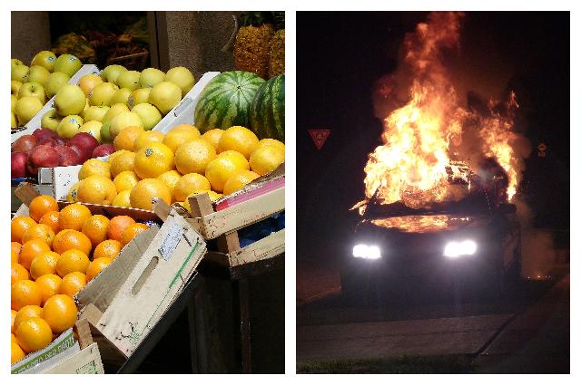 Из-за дорогих фруктов тюменец облил бензином и поджег два автомобиля