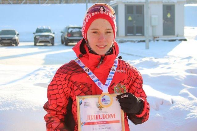 Лыжница Надежда Руденко выиграла золото.
