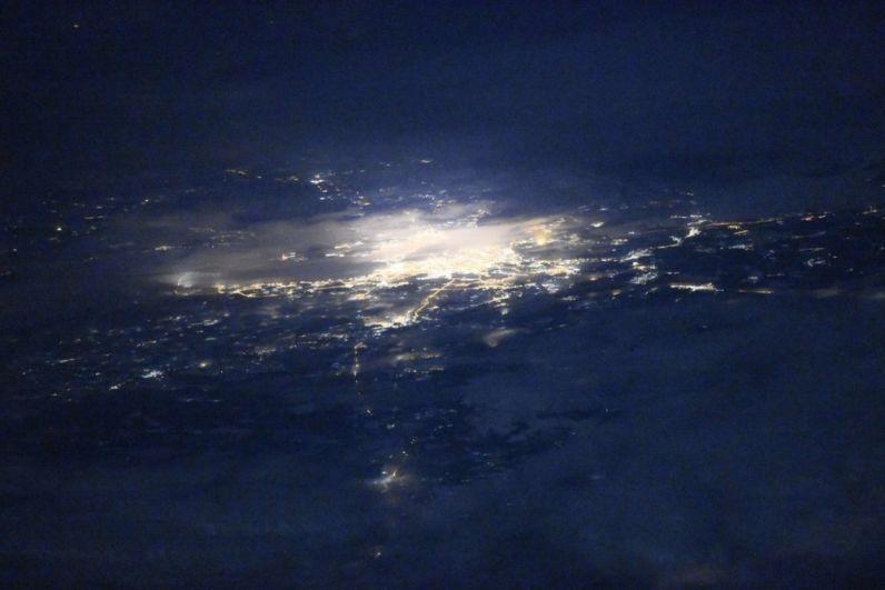 Вид с МКС на ночной Санкт-Петербург.