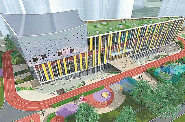 Вокруг этой школы в Левобережном районе задумана широкая лестница, ступени которой можно использовать как амфитеатр.