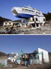 Экскурсионный катер на крыше гостиницы в Оцути на северо-востоке Японии, занесенный туда цунами в 2011 году (вверху), и работы на на том же месте в 2021 году по сносу этой гостиницы.