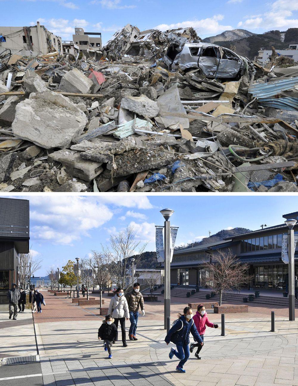 Название: Руины в городе Онагава, пострадавшем от цунами (вверху), и торговый комплекс, построенный в том же районе, на снимке 31 января 2021 года.