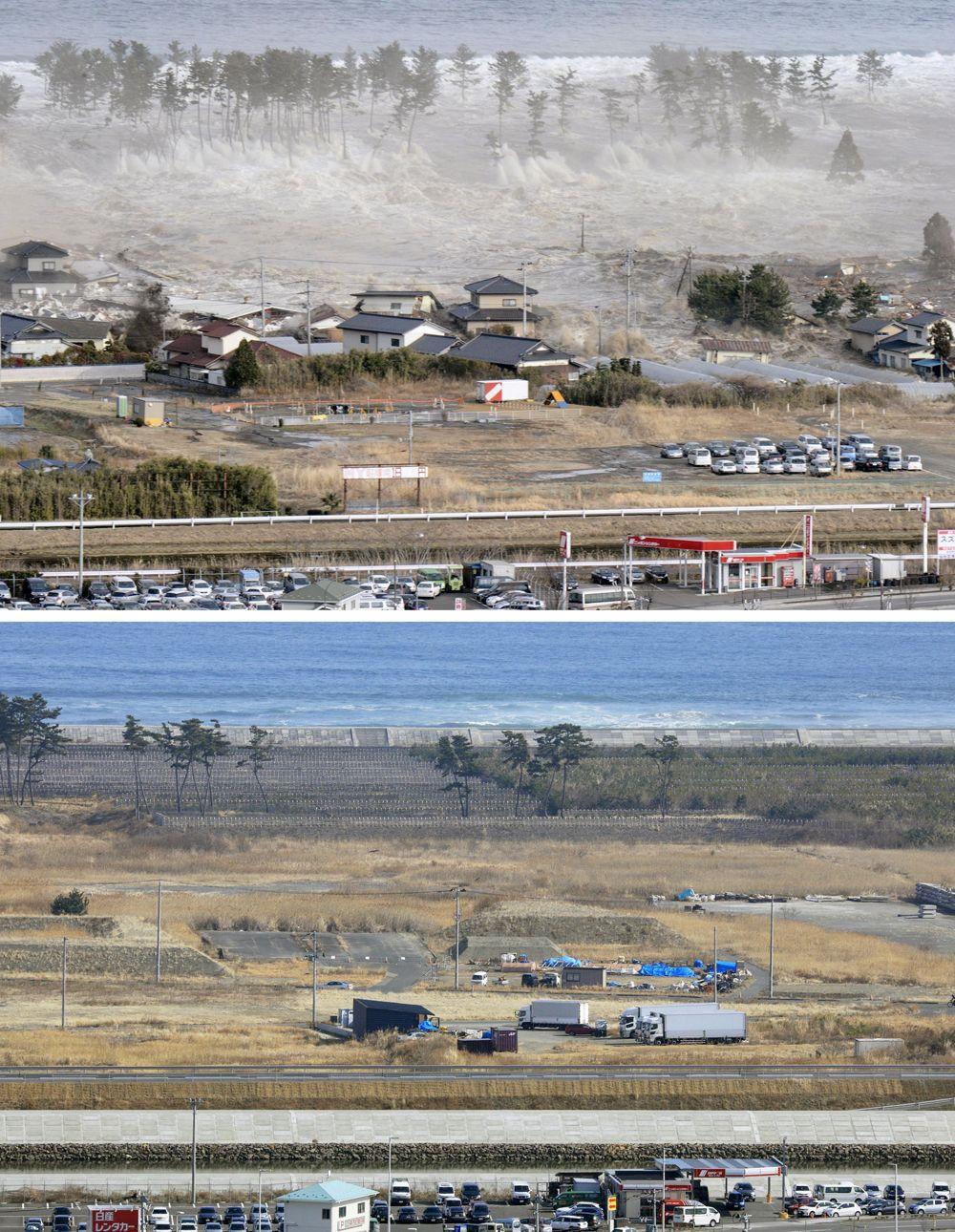 Цунами, захлестывающая 11 марта 2011 года дома в Натори, префектура Мияги, (вверху), и тот же район с волнорезом на фото 14 февраля 2021 года.