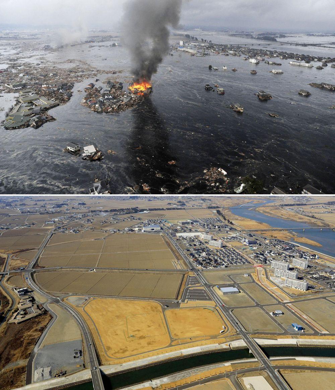 Территория, пострадавшая от цунами (вверху), и тот же район накануне 10-летней годовщины катастрофы, унесшей жизни тысяч людей.
