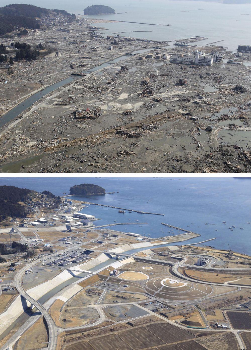 Разрушенный цунами район в Минамисанрику (вверху), и мемориальный парк, разбитый в том же месте - на фото 12 февраля 2021 года.