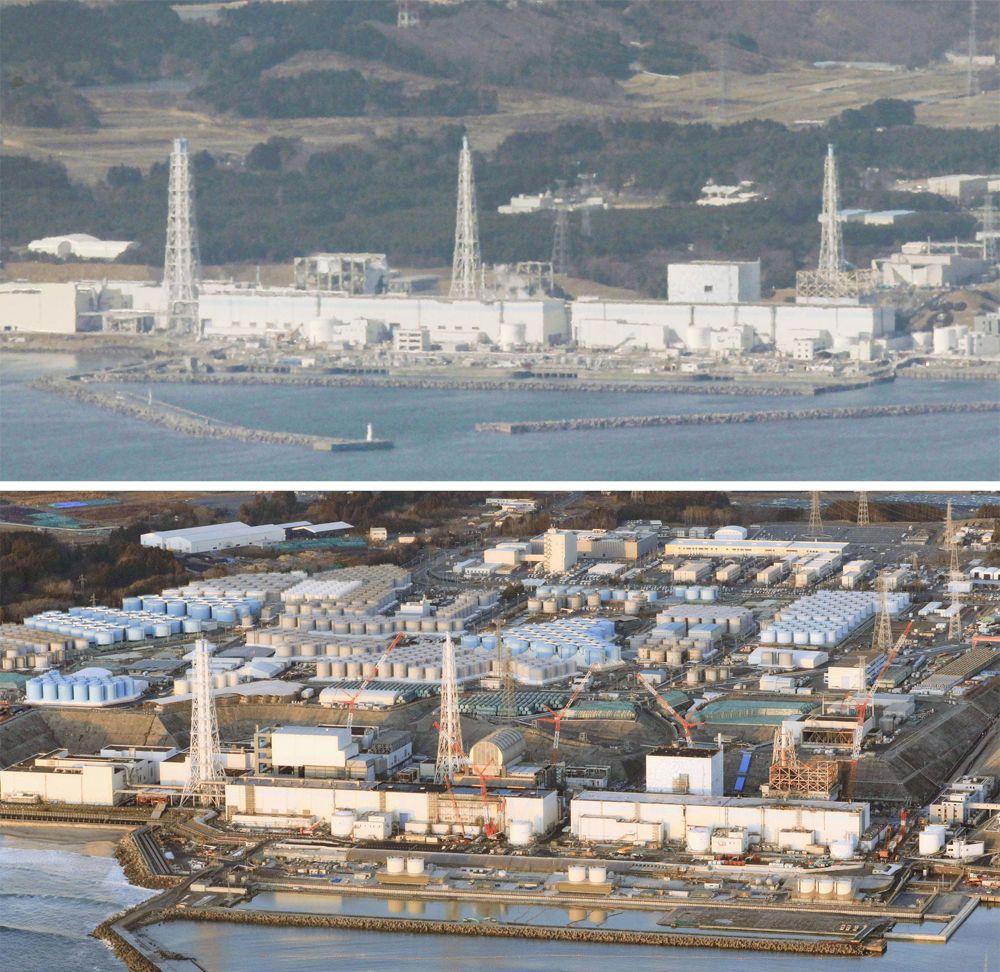Разрушенная цунами атомная электростанция в префектуре Фукусима на северо-востоке Японии (вверху), и фото того же места, сделанное 14 февраля 2021 года.