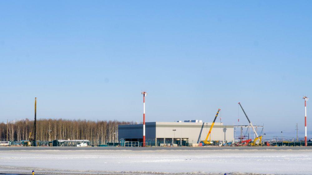 Проведен монтаж основных металлоконструкций аэровокзального комплекса, январь 2021.