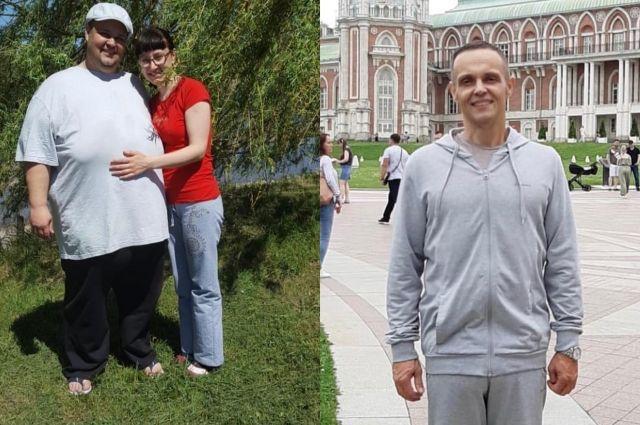 На первом фото Александр весит 192 кг, на втором - уже около 85-и.