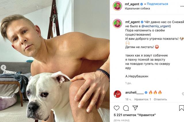 Фотосессия обнаженного новосибирского певца Мити Фомина с собакой возмутила поклонников. На снимках, опубликованных в соцсети Instagram, голый артист сидит верхом на домашнем любимце.