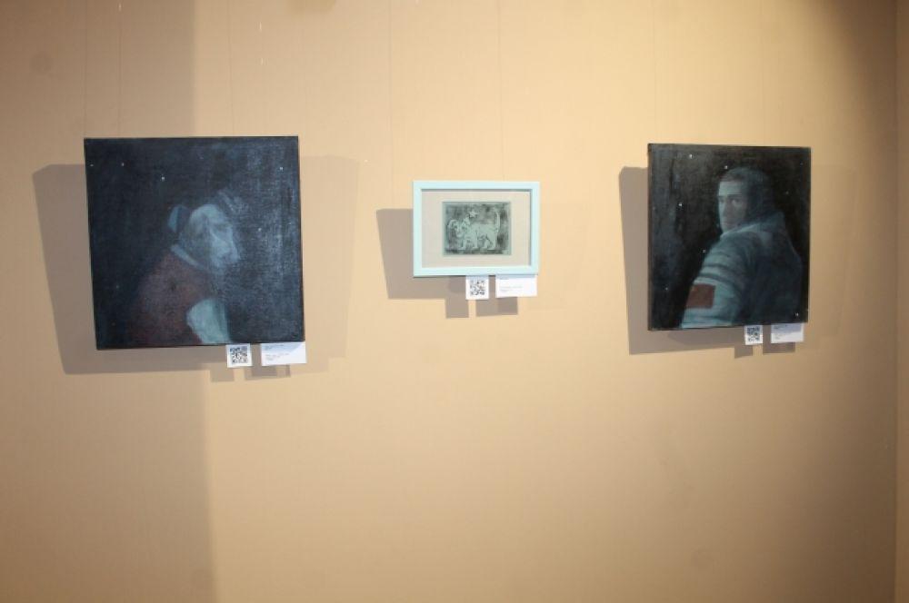 Написанный маслом на холсте диптих «Свет прошлого. Пёс» и линогравюра Анны Шайдуровой из Перми навевают грустные воспоминания о собаках, которые полетели в космос и не вернулись.