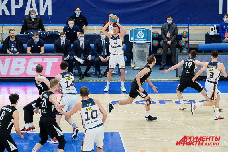 Баскетбольный матч «Парма» - «Нижний Новгород» в Перми.