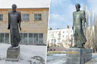Слева - памятник в Большеречье, справа - в Омске.