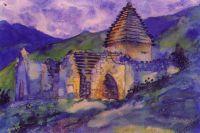 На одной из картин художник изобразил склепы возле села Салги.