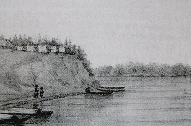 Вид пароходной пристани Сургута 1891 г. Фото из сборника «Земля сургутская» ред. Я.А.Яковлев