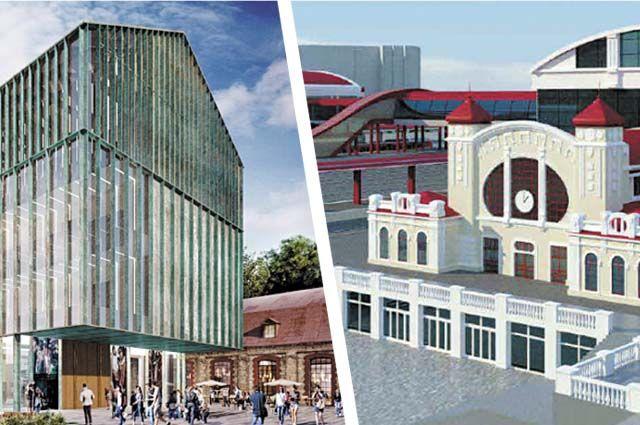 Среди ключевых объектов, которые планируют сдать к 300-летию столицы Прикамья, – новое здание для галереи (проект слева) и ТПУ Пермь II.