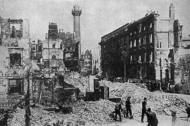 Улица О'Коннела после восстания. 1916 год.