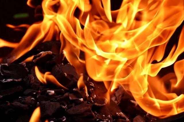 Пожар вспыхнул из-за пала травы.