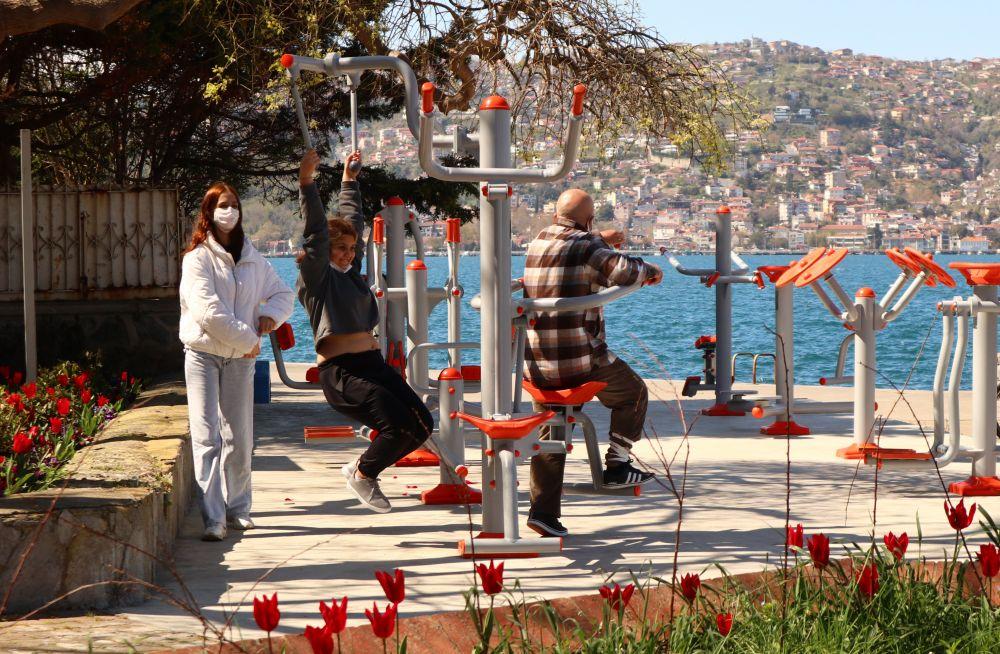 Спортивная площадка на набережной пролива Босфор в Стамбуле