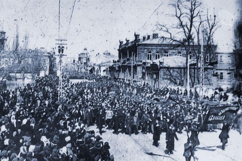Краснодар, демонстрация на улице Красной после Февральской революции.