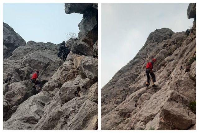 Спустить молодого человека удалось с помощью альпинистского снаряжения.