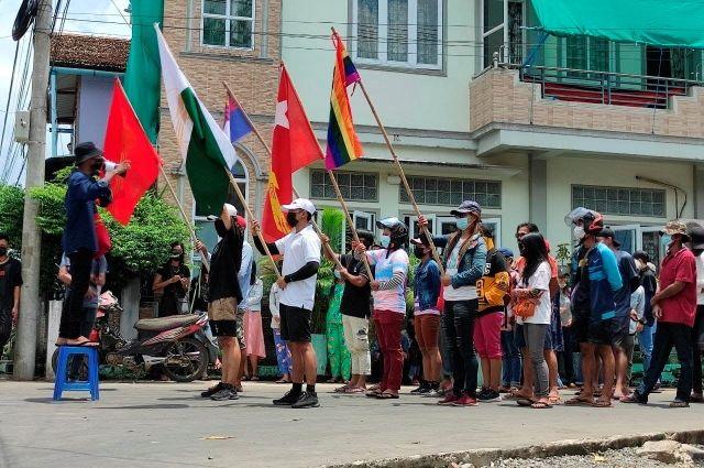 Протестующие в Мьянме
