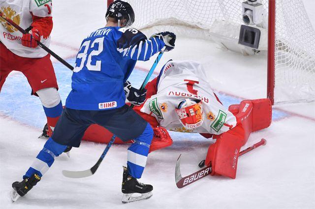Матч полуфинала ЧМ среди юниоров между сборными России и Финляндии.