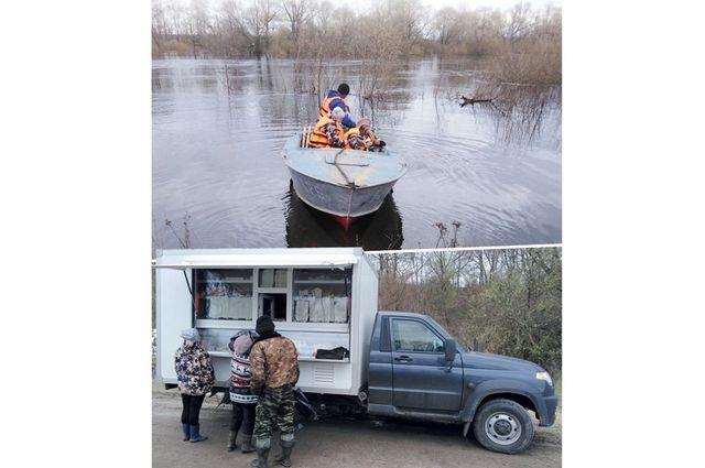 За куличами жители трёх населённых пунктов Выгоничского района добирались вплавь. Фото Выгоничского сельпо.