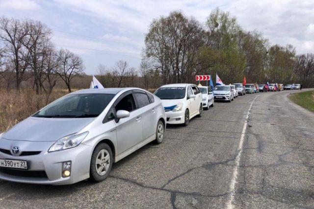 Праздничные автопробеги прошли в районах Хабаровского края