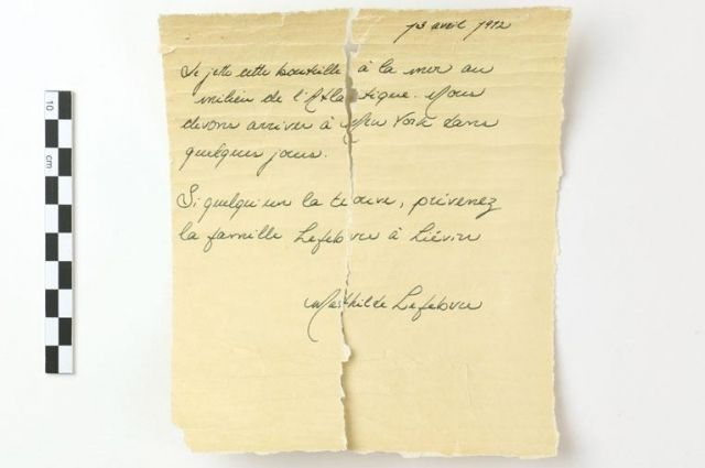 Ученые изучат письмо из бутылки, которое написала пассажирка «Титаника»