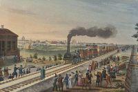 Акварель на тему первой российской железной дороги, 1840-е гг.
