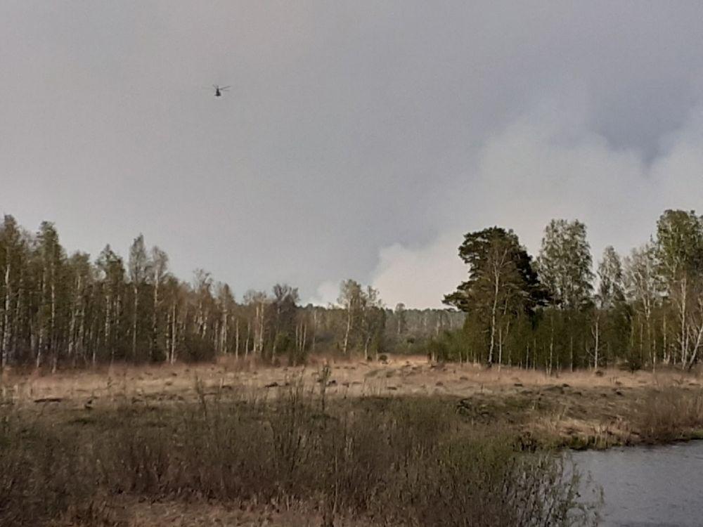 Вертолет летит к пожару. Горят леса: как тушат пожары в Тюменской области, 2021.