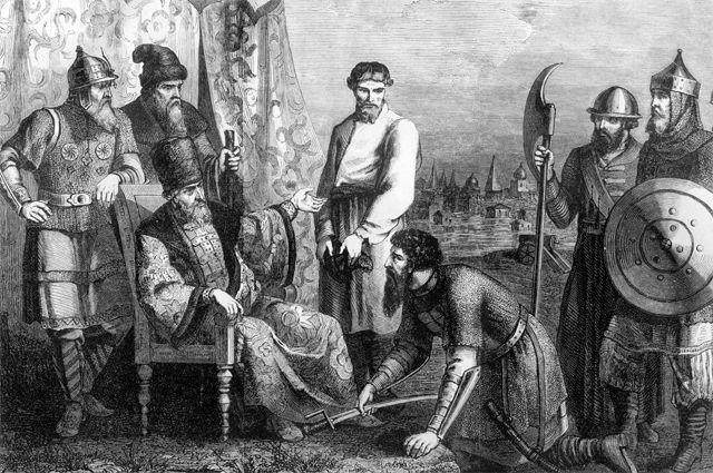 Болотников является сповинной перед царём Василием Шуйским.