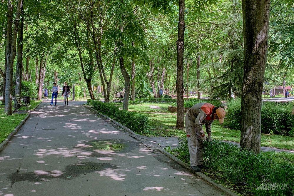 Садовые работы в парке 30-летия Победы.