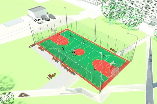 На площадках можно будет играть в футбол, фаербол и баскетбол.