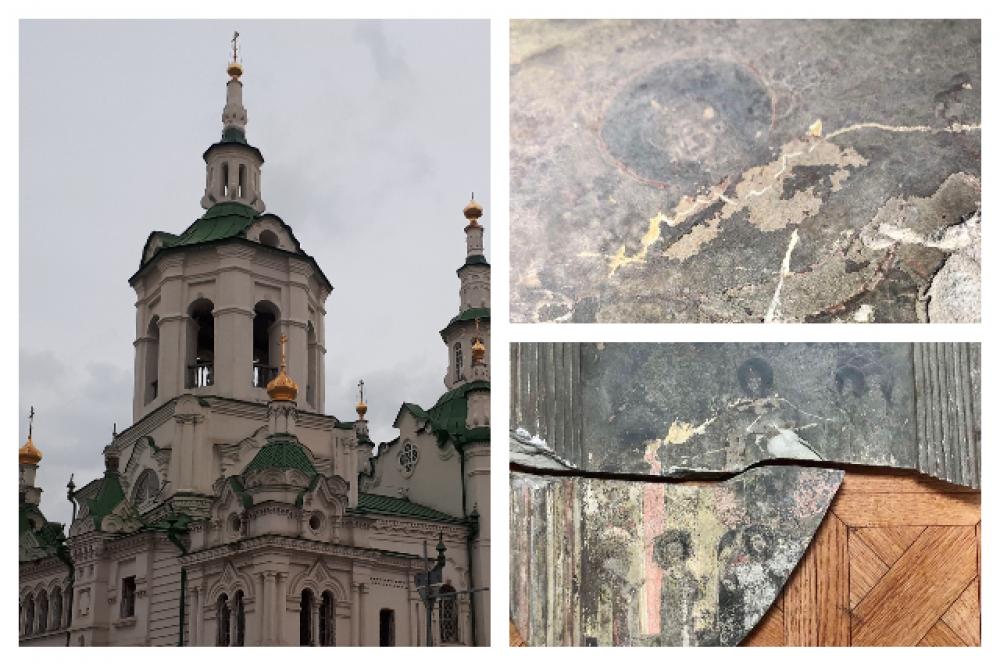 Спасская церковь, Тюмень - 2021. Рукописная икона на бетоне «Покров Пресвятой Богородицы».