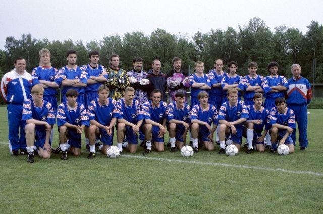 Сборная России перед Чемпионатом Европы 1996 года в Англии.