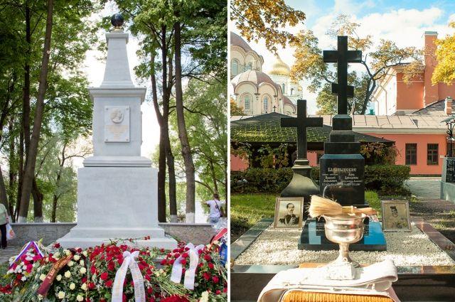 Памятник Петру I в Кировске (слева), памятник на месте захоронения четы Баратынских.