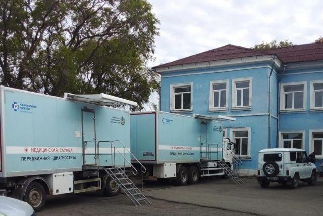 Поликлиника на колесах приехала в посёлок Тавричанка ранним утром.