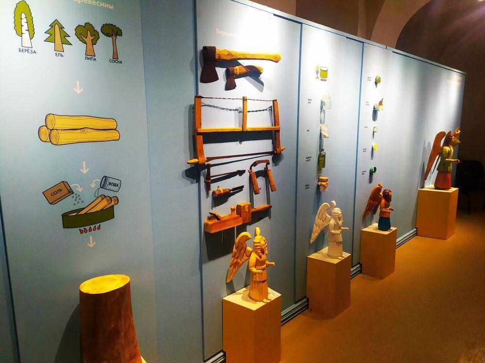 В разделе «Технология» посетители могут подробно узнать этапы создания деревянной скульптуры: от заготовки древесины до покраски.