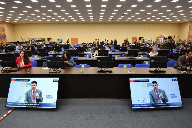Главный пресс-центр Петербургского международного экономического форума - 2021 в конгрессно-выставочном центре «Экспофорум»